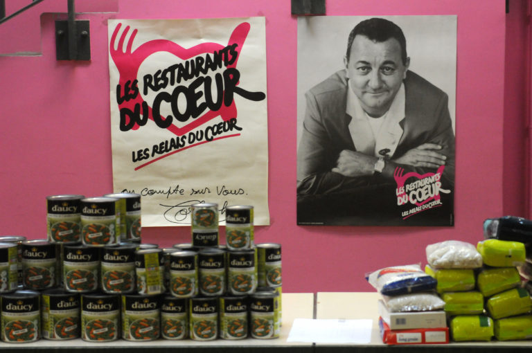 'Les Restos du Coeur' charity starting the 30th Winter campaign, in Paris, France on November 24, 2014. The Winter Campaign for the Restos du Coeur food banks has started again, with organisers expecting at least a million people to benefit. It was extended last year to donations of dairy products on the charity's request which allowed the Restos to collect 850,000 litres of milk – though this was far from its total milk requirements of about 20 million litres a year. This year the charity is asking the government to extend it to other foodstuffs – meat, eggs, vegetables etc. Mr Berthe believes that supermarkets tend to throw out unsold produce rather than donate it because it is costs them less. Photo by Alain Apaydin/ABACAPRESS.COM  | 477182_002 Paris France